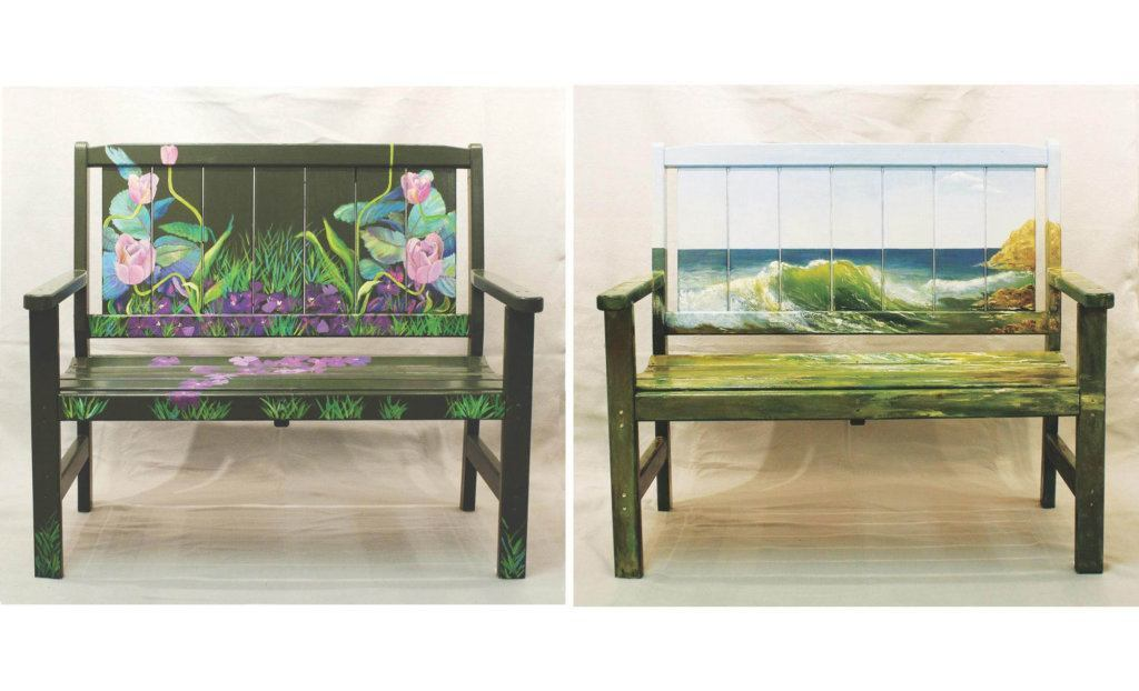 Groovy Painted Benches Stolen During First Ever Take A Seat Caraccident5 Cool Chair Designs And Ideas Caraccident5Info