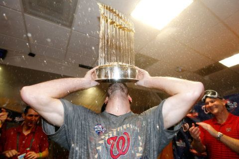 Locker-room antics: Nats celebrate World Series win