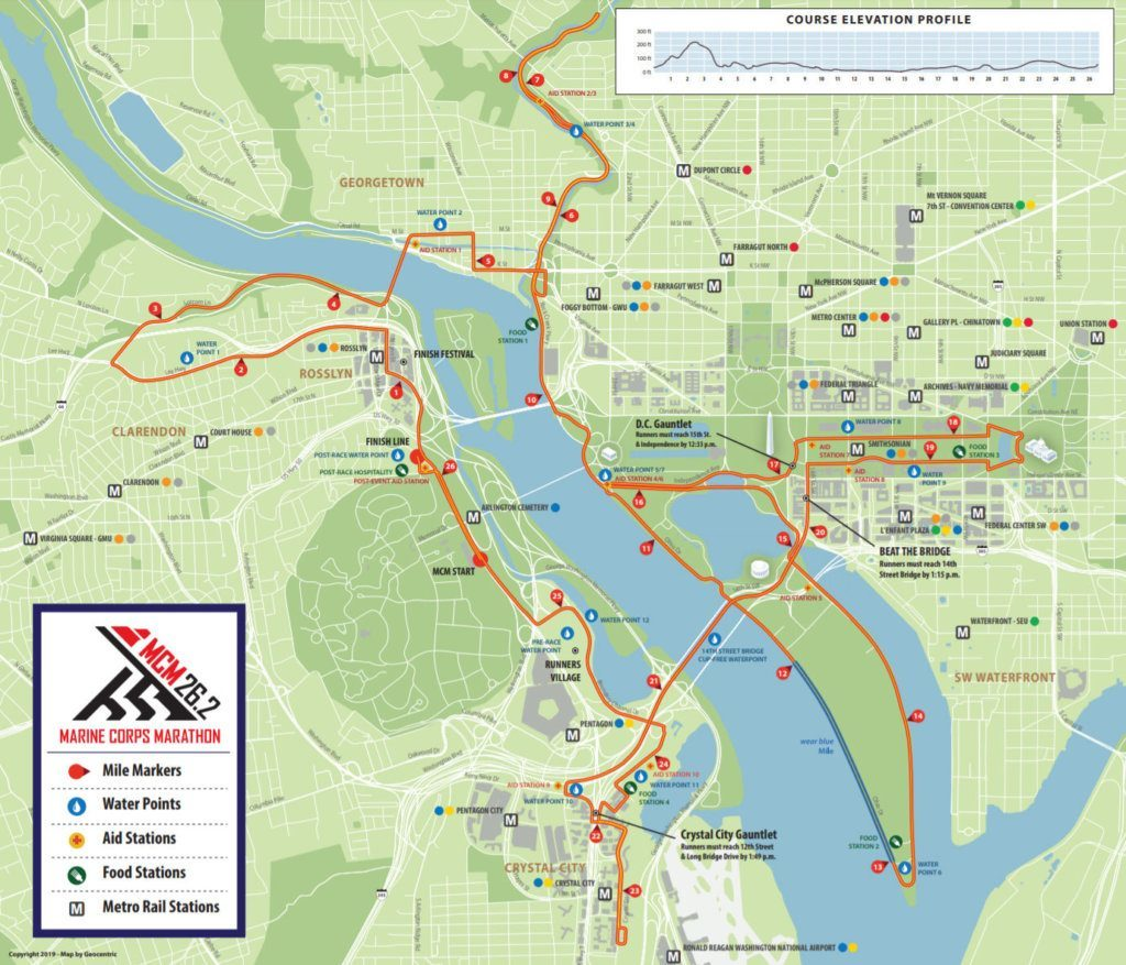 Marine Corps Marathon 2019 course map. Click for PDF. (Courtesy Marine Corps Marathon)