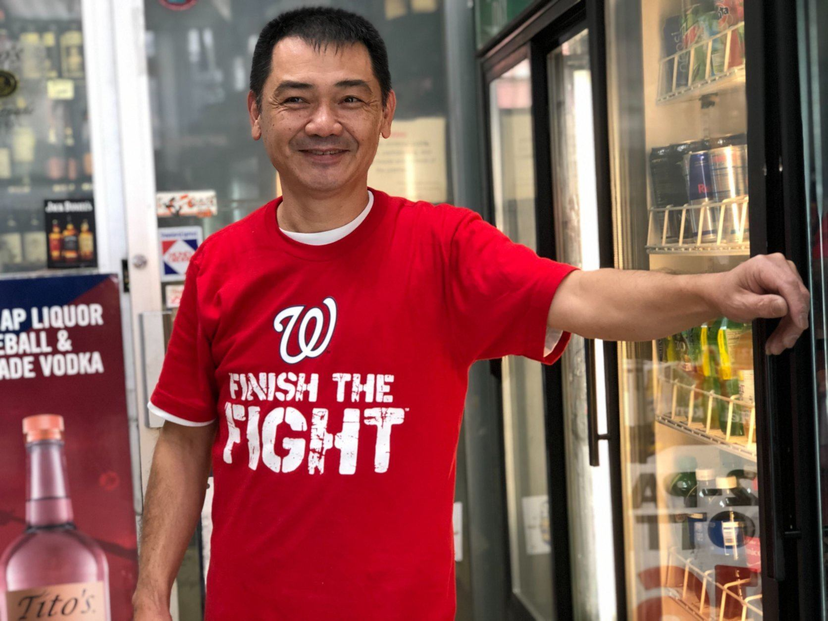 "<p>Outside the store, Tracey Adams, a D.C. native, is on her way to work at the concessions at Nationals Park. She beamed when the team is mentioned.</p> <p>""I'm over the top!"" She said. ""I'm so happy just to make it where we made it is a blessing. If we win it all, I will be so excited!""</p>"