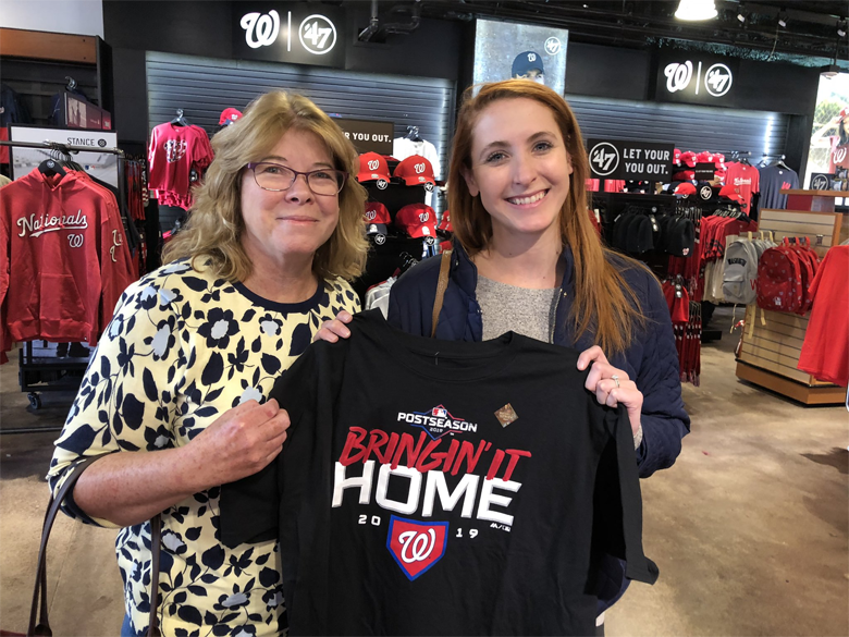 nats fans Theresa Cheseldine (left) and daughter Colleen Snook