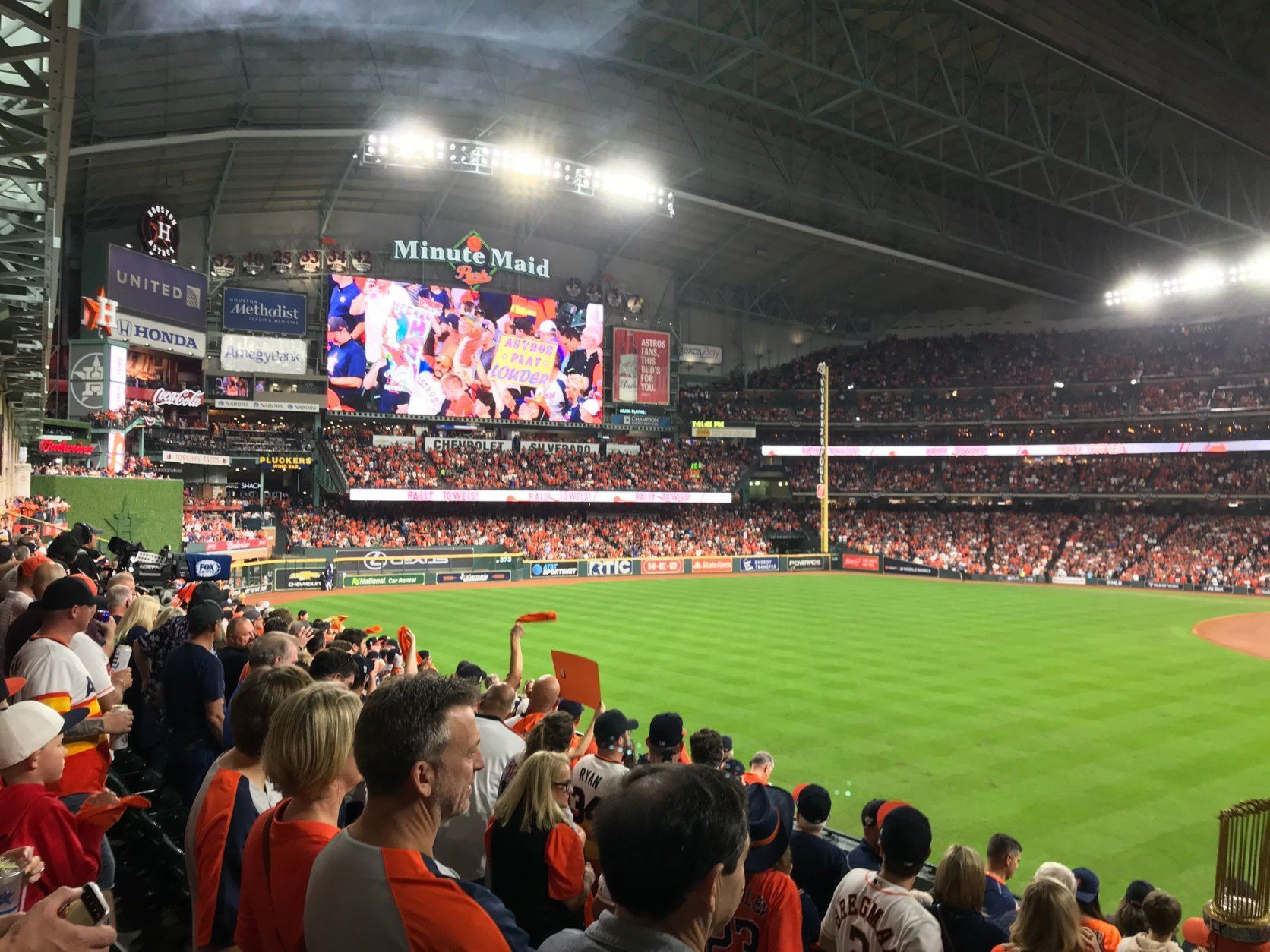 Fans watching Game 2 of the World Series in Houston