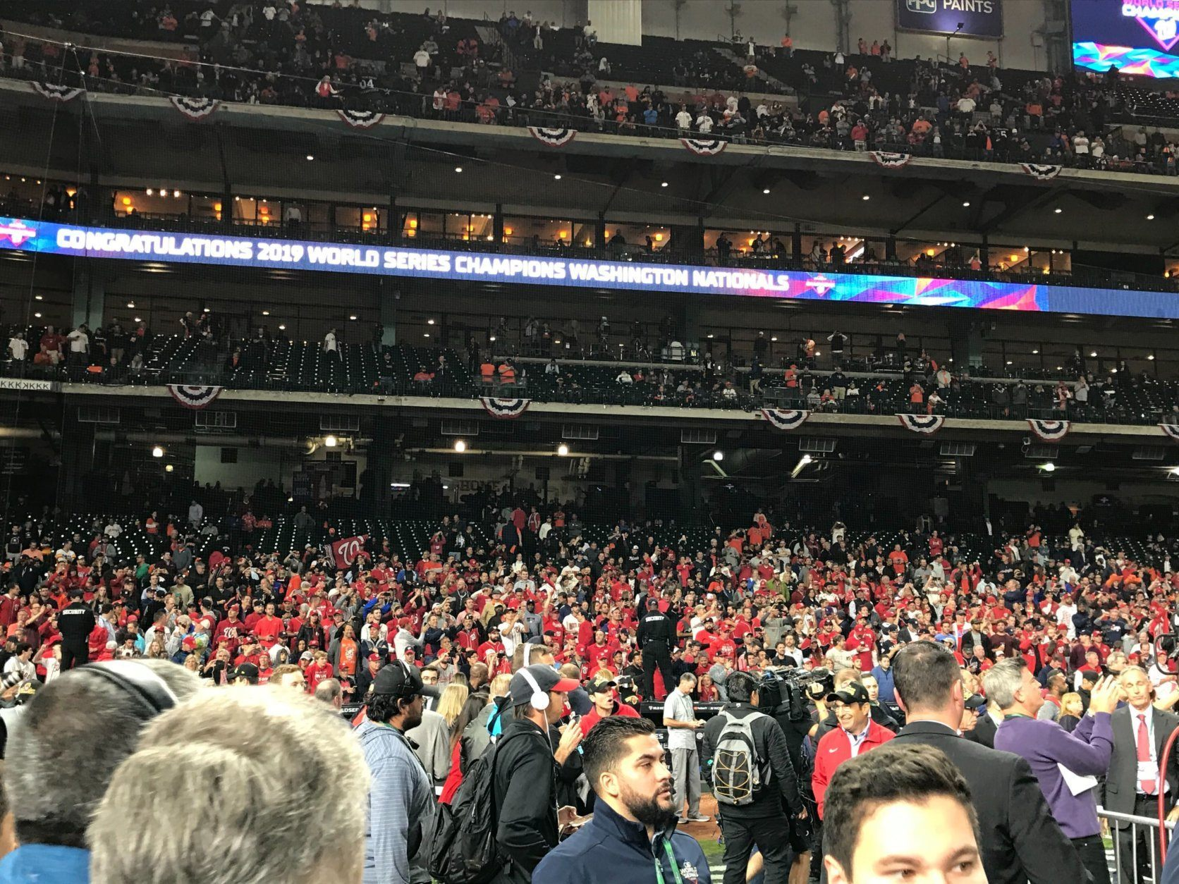WTOP's George Wallace captures the plenty of red at Minute Maid Park in Houston.