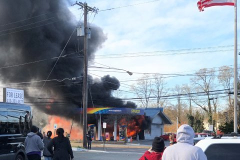 VIDEO: Gas station fire closed part of Rockville Pike for hours