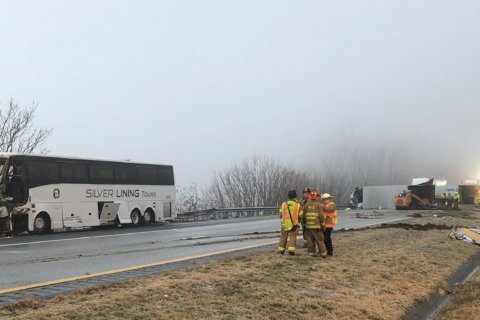 Authorities: 19 hospitalized after bus hits tractor trailer on I-64