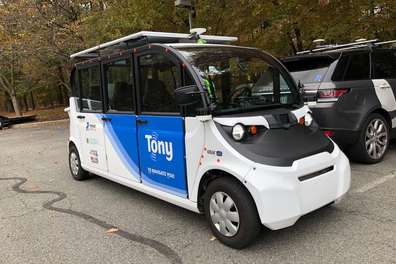 """TONY"""" -- short for """"to navigate you,"""" -- jus finished up a trial run in Crozet, Virginia. (WTOP/John Aaron)"""