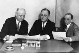 James A. Farley, left, joins New York Gov. Franklin D. Roosevelt and Louis Howe shown in April 1932.  Roosevelt with manager and secretary.  No other information available.  (AP Photo)