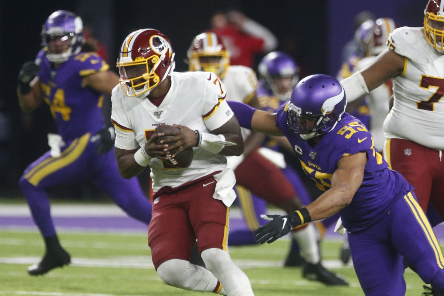 """<p><b>Second Half Predictions:</b></p> <p><em><b>The Redskins finish 3-13.</b></em></p> <p>Somehow it feels like I&#8217;m overrating them. The only game in which they could plausibly be favored is the home game against the equally-putrid Jets, but <a href=""""https://wtop.com/sports-columns/2019/10/column-did-skins-actually-learn-anything-from-firing-jay-gruden/"""">as we&#8217;ve seen in Landover</a>, the &#8216;Skins don&#8217;t have a home-field advantage <i>at all</i>. A 2-14 finish feels more likely, but I&#8217;m banking on them stealing at least one more somewhere we don&#8217;t expect. Let&#8217;s just hope Dwayne Haskins doesn&#8217;t get killed in the process.</p> <p><em><strong>The Browns get it together (kinda).</strong></em></p> <p>Not enough to make the playoffs, mind you. But the only team with a winning record on Cleveland&#8217;s remaining schedule is the Ravens, who the Brownies beat handily in Baltimore in Week 3. I&#8217;m not saying they&#8217;ll run the table, but going 4-4 or better in the second half will help the Dawg Pound feel like not all is lost.</p> <p><em><b>The Saints beat the Patriots in Super Bowl LIV.</b></em></p> <p>I picked the wrong NFC South team to <a href=""""https://wtop.com/gallery/nfl/2019-nfl-playoff-predictions/"""">represent the conference in Miami</a> so now&#8217;s the time to bail on my worst preseason pick and jump on the bandwagon of the team <a href=""""https://wtop.com/nfl/2018/09/2018-nfl-playoff-predictions/"""">I picked to win it all last year</a>.</p>"""