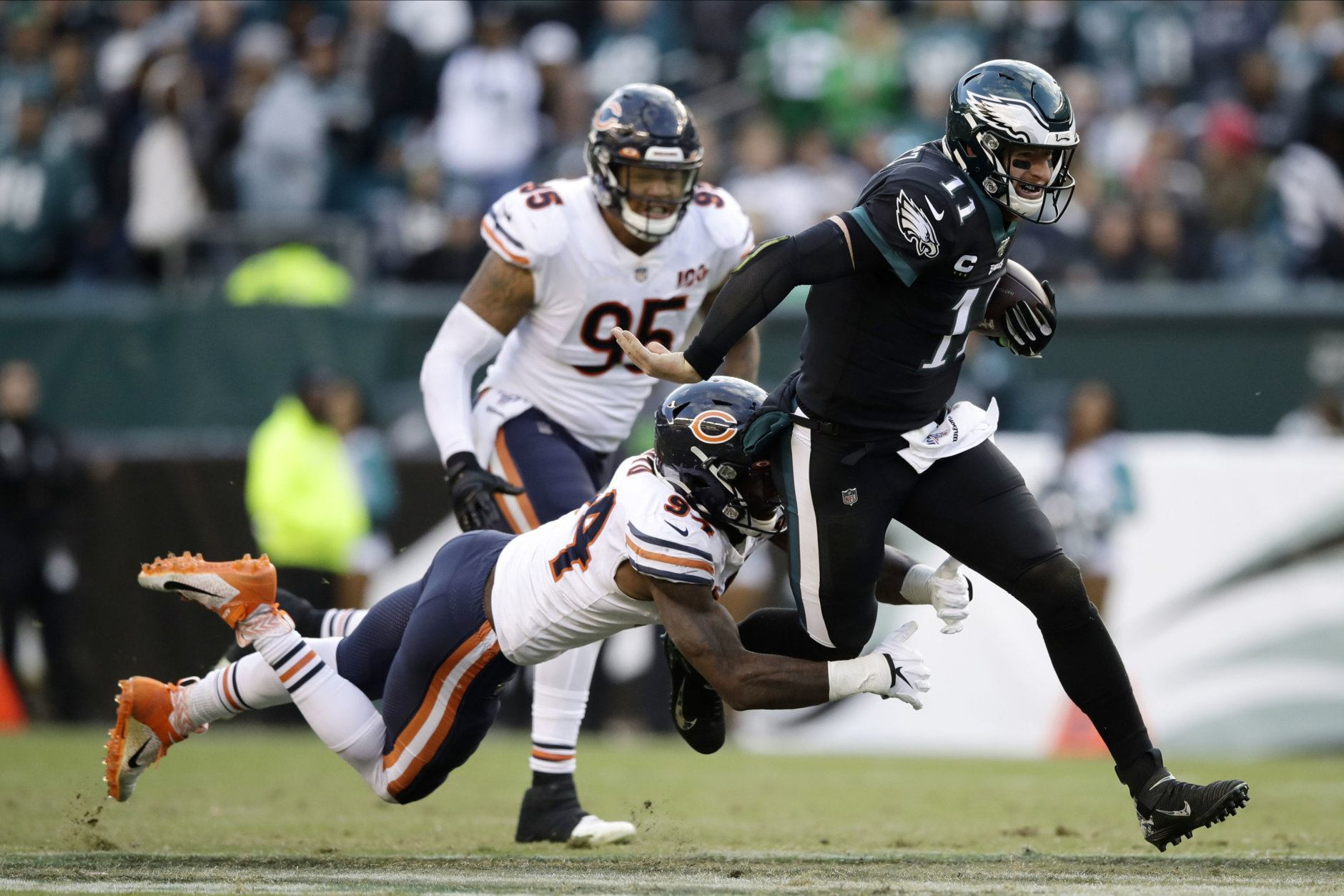 """<p><b><i>Bears 14</i></b><br /> <b><i>Eagles 22</i></b></p> <p>Chicago may have been <a href=""""https://profootballtalk.nbcsports.com/2019/10/31/matt-nagy-wants-bears-to-learn-from-nationals/"""" target=""""_blank"""" rel=""""noopener"""" data-saferedirecturl=""""https://www.google.com/url?q=https://profootballtalk.nbcsports.com/2019/10/31/matt-nagy-wants-bears-to-learn-from-nationals/&amp;source=gmail&amp;ust=1572912255566000&amp;usg=AFQjCNFm8r1dVokmBpH-ZwsVA5JMYNjBzg"""">inspired by the Nationals</a> — and had a Nats-like rebound from <a href=""""https://twitter.com/ESPNStatsInfo/status/1191076939794137090?s=20"""" target=""""_blank"""" rel=""""noopener"""" data-saferedirecturl=""""https://www.google.com/url?q=https://twitter.com/ESPNStatsInfo/status/1191076939794137090?s%3D20&amp;source=gmail&amp;ust=1572912255566000&amp;usg=AFQjCNFtloyV1EYEw4VoLuqsvdY_9ZJx0g"""">a historically inept first half</a> to make it a game again — but they forgot the key ingredient: Finish the fight!</p>"""