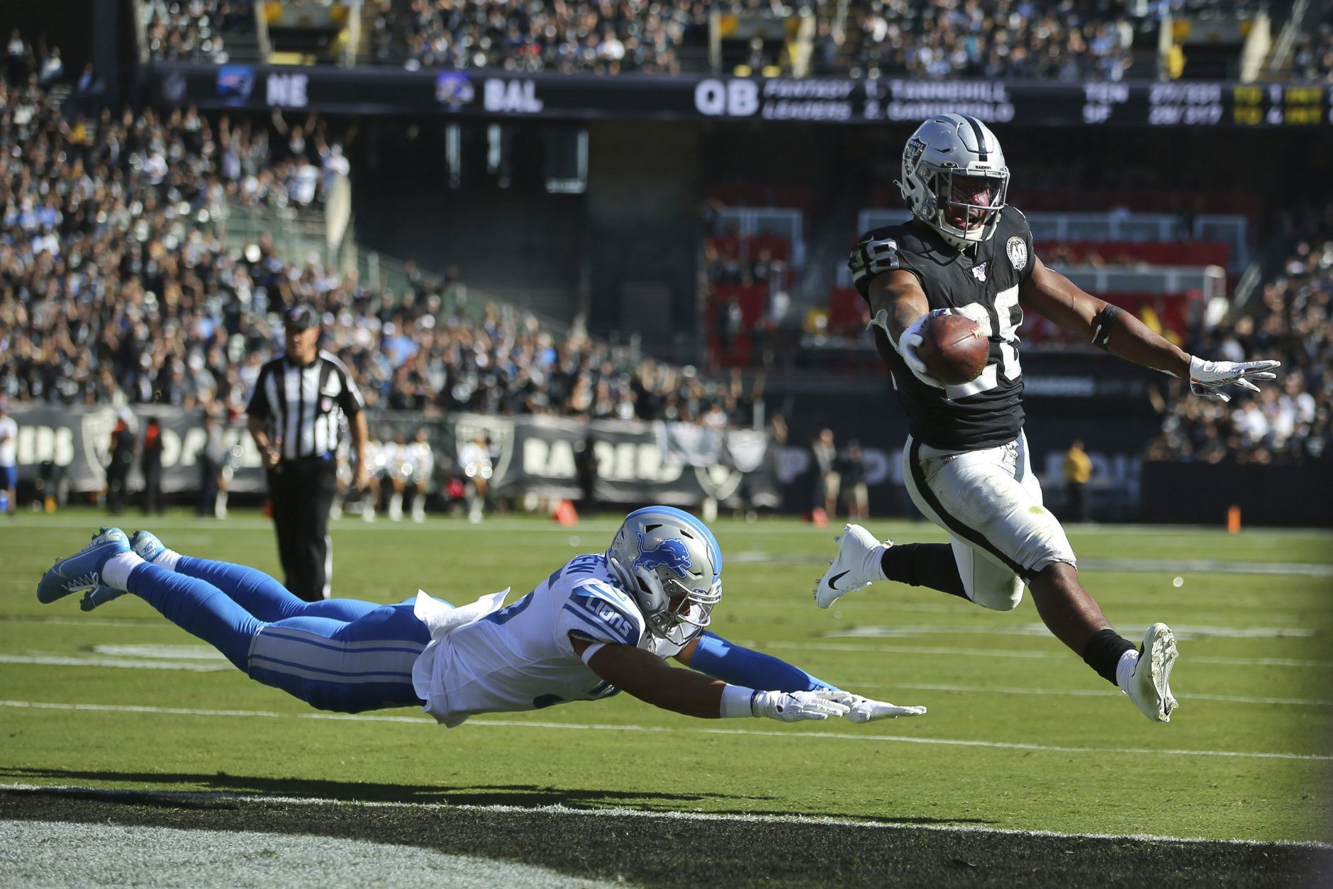 """<p><b><i>Lions 24</i></b><br /> <b><i>Raiders 31</i></b></p> <p>Josh Jacobs continues to <a href=""""https://twitter.com/ESPNStatsInfo/status/1191120187157815296?s=20"""">put his name among the greats</a> while carrying the Raiders to a better-than-expected final season in Oakland. Maybe trading Khalil Mack wasn&#8217;t so bad after all.</p>"""