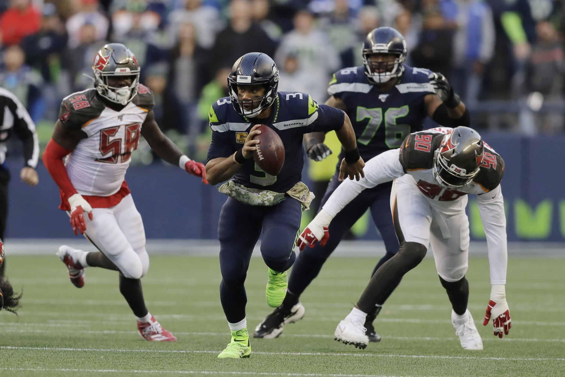 """<p><b><i>Buccaneers 34</i></b><br /> <b><i>Seahawks 40 (OT)</i></b></p> <p>Jameis Winston had a pretty good game but could only sit and watch Russell Wilson complete a thrilling comeback to cement his MVP status, while Jameis is only famous for completing <a href=""""https://profootballtalk.nbcsports.com/2019/10/27/jameis-winston-makes-the-latest-non-guarantee-guarantee/"""">the failed non-guaranteed guarantee trifecta</a>. Monday Night Football finally gets a gem when the Seahawks play the undefeated 49ers next week.</p>"""