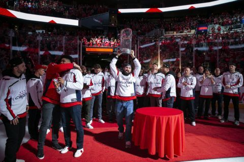 Nats celebrate World Series win at Capitals game