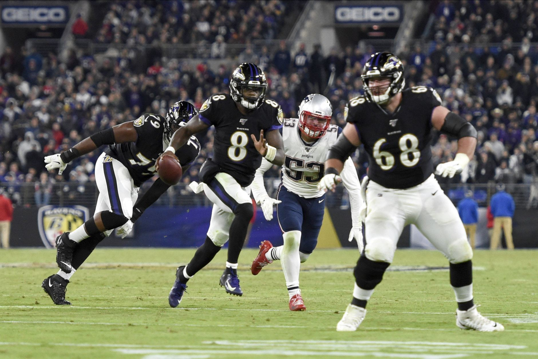 """<p><b><i>Patriots 20</i></b><br /> <b><i>Ravens 37</i></b></p> <p>How unlikely was this result? New England won 16 straight regular season games, facing a starting QB for the first time and 20 straight against a QB age 24 or younger. As <a href=""""https://profootballtalk.nbcsports.com/2019/10/28/bill-belichick-on-lamar-jackson-hes-definitely-a-problem/"""">Bill Belichick predicted</a>, the 22-year-old Lamar Jackson changed that by lighting up the Patriots defense — which previously allowed only seven points per game this season — by air and ground to simultaneously get himself in the MVP conversation and Baltimore in the discussion for AFC title contenders. It feels like we&#8217;ll see this match up again in the playoffs.</p>"""