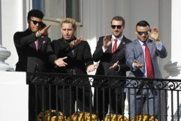 "Washington Nationals' Juan Soto, Asdrubal Cabrera, Max Scherzer and Gerardo Parra perform ""Baby Shark"" during an event to honor the 2019 World Series champion Nationals baseball team at the White House, Monday, Nov. 4, 2019, in Washington. (AP Photo/Patrick Semansky)"
