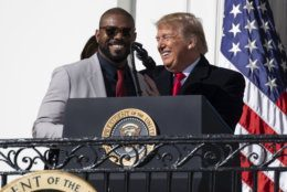 President Donald Trump invites Washington Nationals infielder Howie Kendrick to speak during an event to honor the 2019 World Series Champion, Washington Nationals baseball team, at the White House, Monday, Nov. 4, 2019, in Washington. (AP Photo/ Evan Vucci)