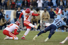 """<p><b><i>Chiefs 32</i></b><br /> <b><i>Titans 35</i></b></p> <p>Here&#8217;s your weekly reminder that Kansas City doesn&#8217;t have much beyond Patrick Mahomes and the passing game. The defense got torched by Ryan Tannehill at a critical juncture and <a href=""""https://profootballtalk.nbcsports.com/2019/11/10/titans-say-they-timed-chiefs-cadence-to-block-last-second-field-goal/"""" target=""""_blank"""" rel=""""noopener"""">the predictable special teams</a> got the potential game-tying field goal blocked emphatically like Dikembe Mutombo was coming off the edge. The Chiefs are in trouble.</p>"""