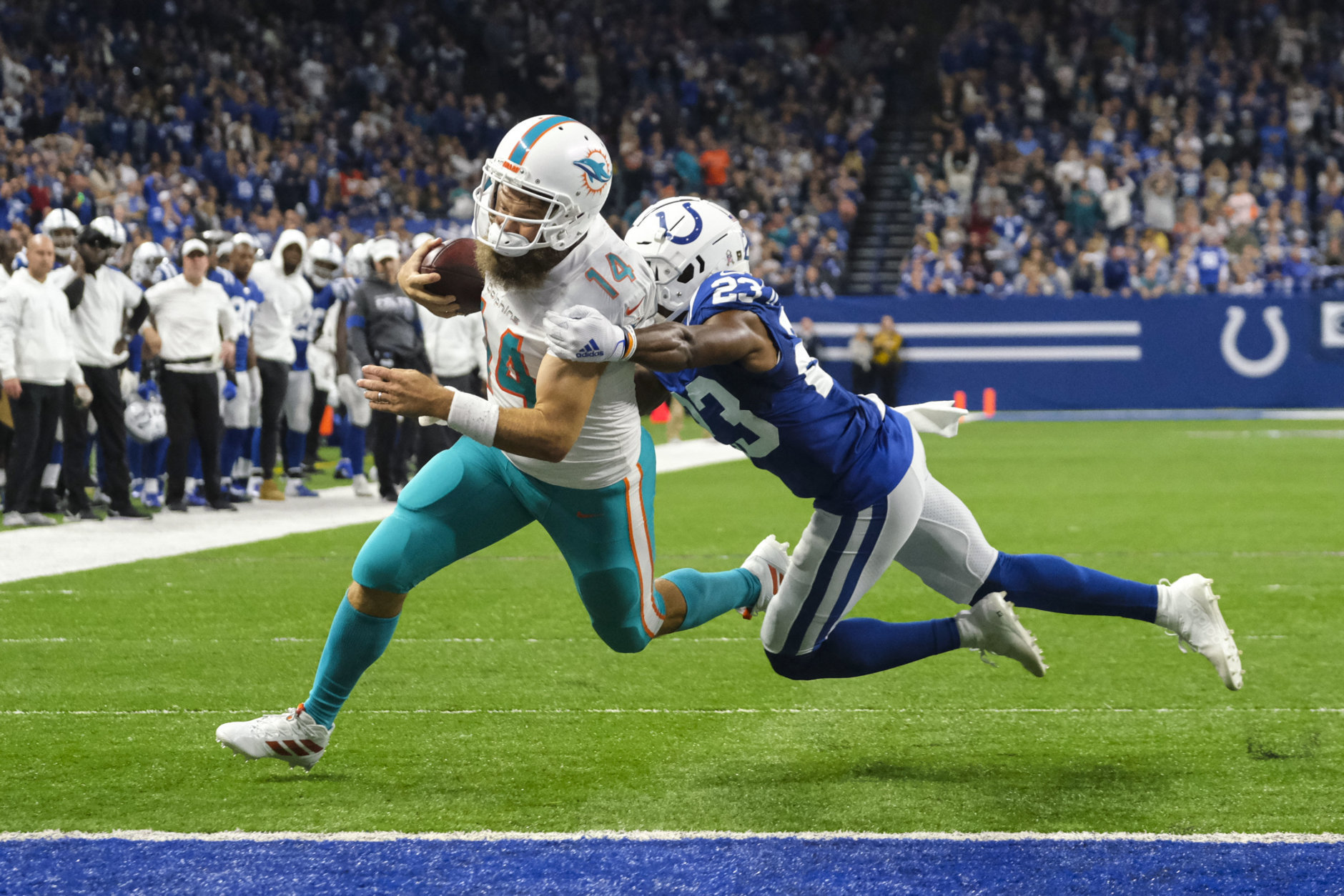 <p><b><i>Dolphins 16</i></b><br /> <b><i>Colts 12</i></b></p> <p>The lone team the Redskins have beaten this year has done something the &#8216;Skins haven&#8217;t: Won consecutive games. Given Cincinnati is still winless — on a day when the Dolphins, Jets and Falcons all won, no less — and Joe Burrow played his way into being the favorite to be picked #1 overall in the draft; Miami may get Tua without the tanking after all.</p>