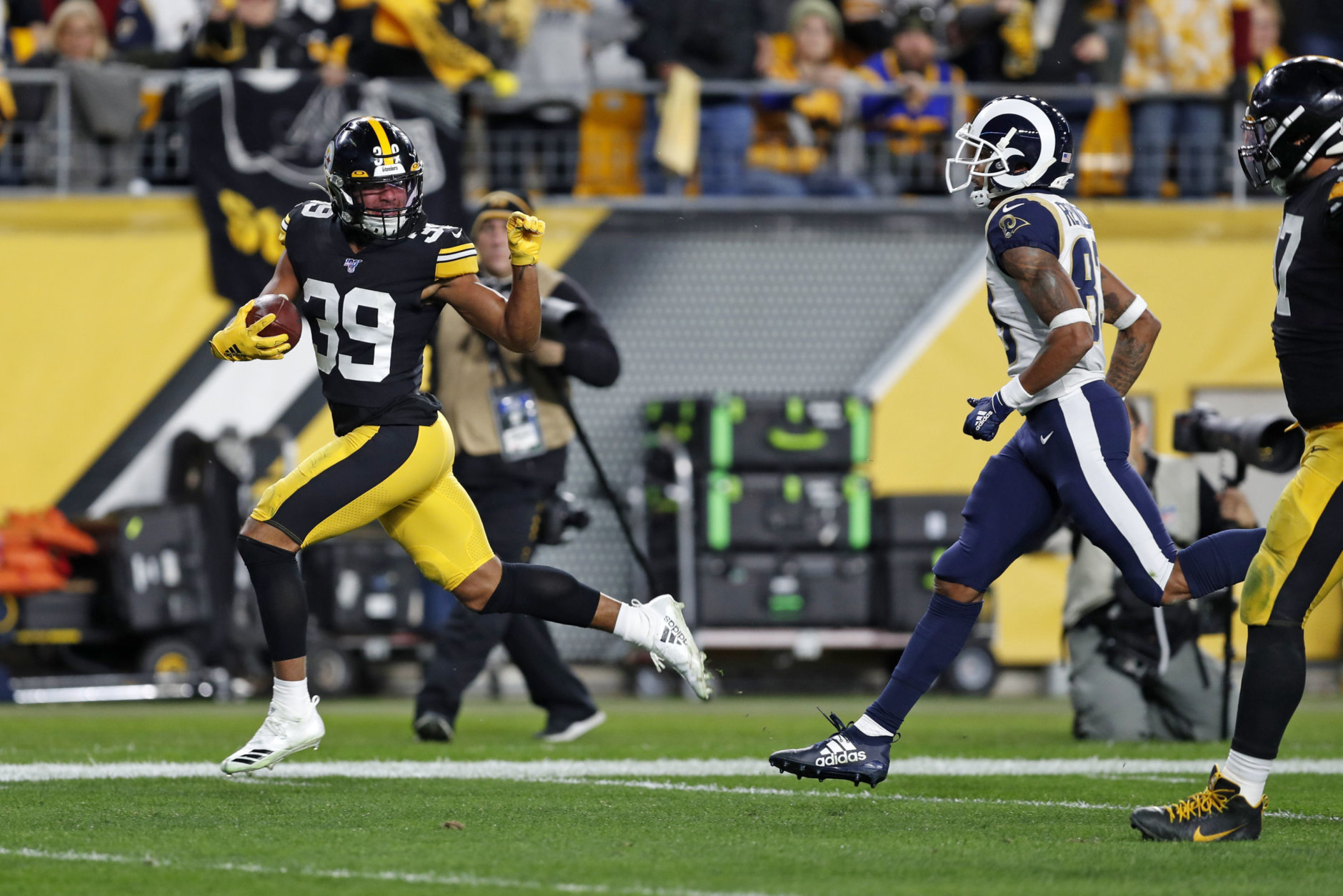 <p><em><strong>Rams 12</strong></em><br /> <em><strong>Steelers 17</strong></em></p> <p>Minkah Fitzpatrick is the first Steeler in 35 years to score a defensive TD in back-to-back games and has five picks in only seven games in Black and Gold. If Pittsburgh makes the playoffs, he has to be in the mix for Defensive Player of the Year.</p> <p>And reigning DPOY Aaron Donald got a safety in his Steel City homecoming, but his Rams look lost in a division (and conference) where the margin for error won&#8217;t allow them to sneak into the playoffs without a dramatic turnaround. Jared Goff is looking more like Joe Flacco every day.</p>