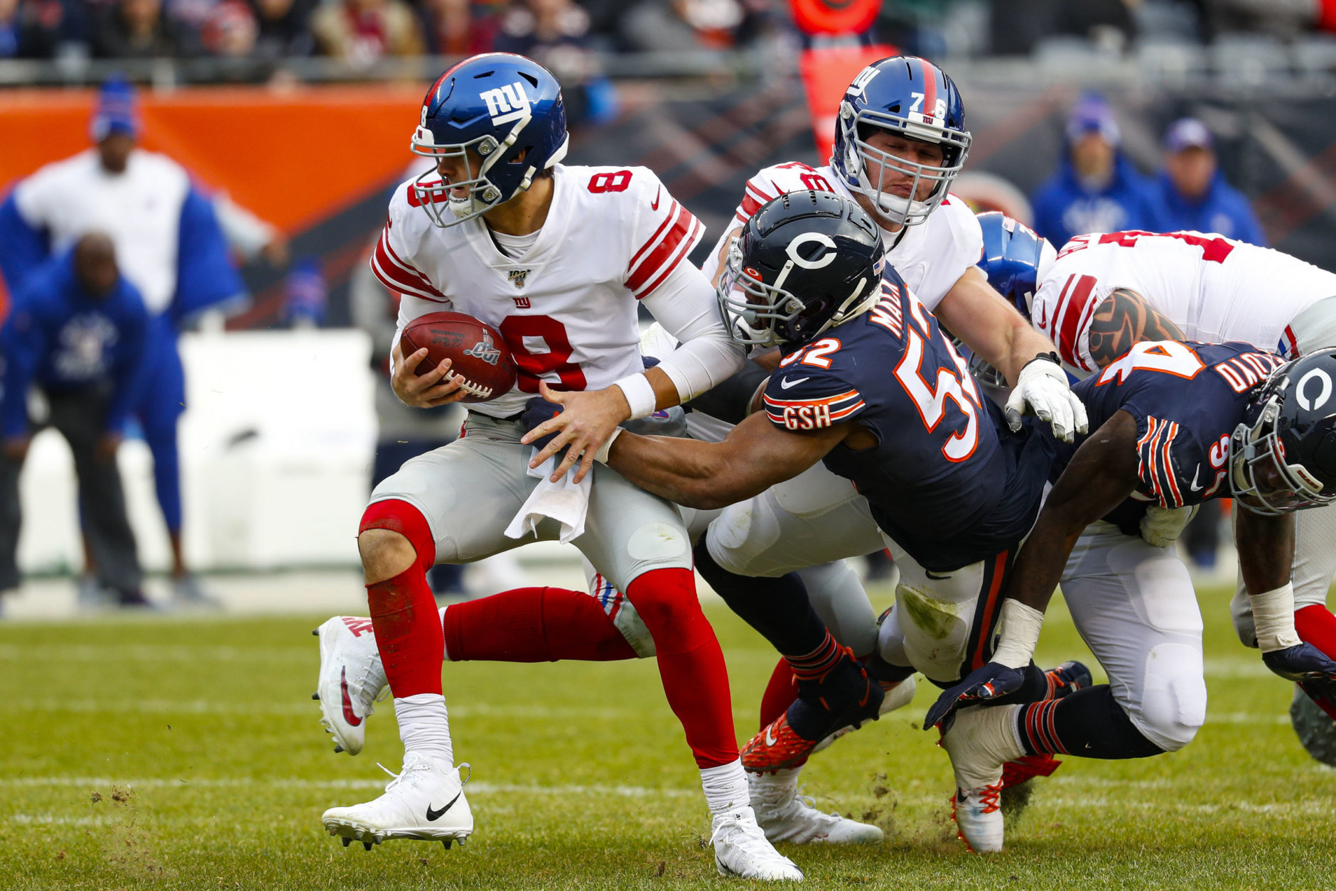 "<p><em><strong>Giants 14</strong></em><br /> <em><strong>Bears 19</strong></em></p> <p>A week after getting shutout on the stat sheet, Khalil Mack set up a touchdown with a strip sack of Daniel HIT IT MAESTRO!</p> <p><iframe src=""https://www.youtube.com/embed/uB1D9wWxd2w"" width=""560"" height=""315"" frameborder=""0"" allowfullscreen=""allowfullscreen""></iframe></p>"