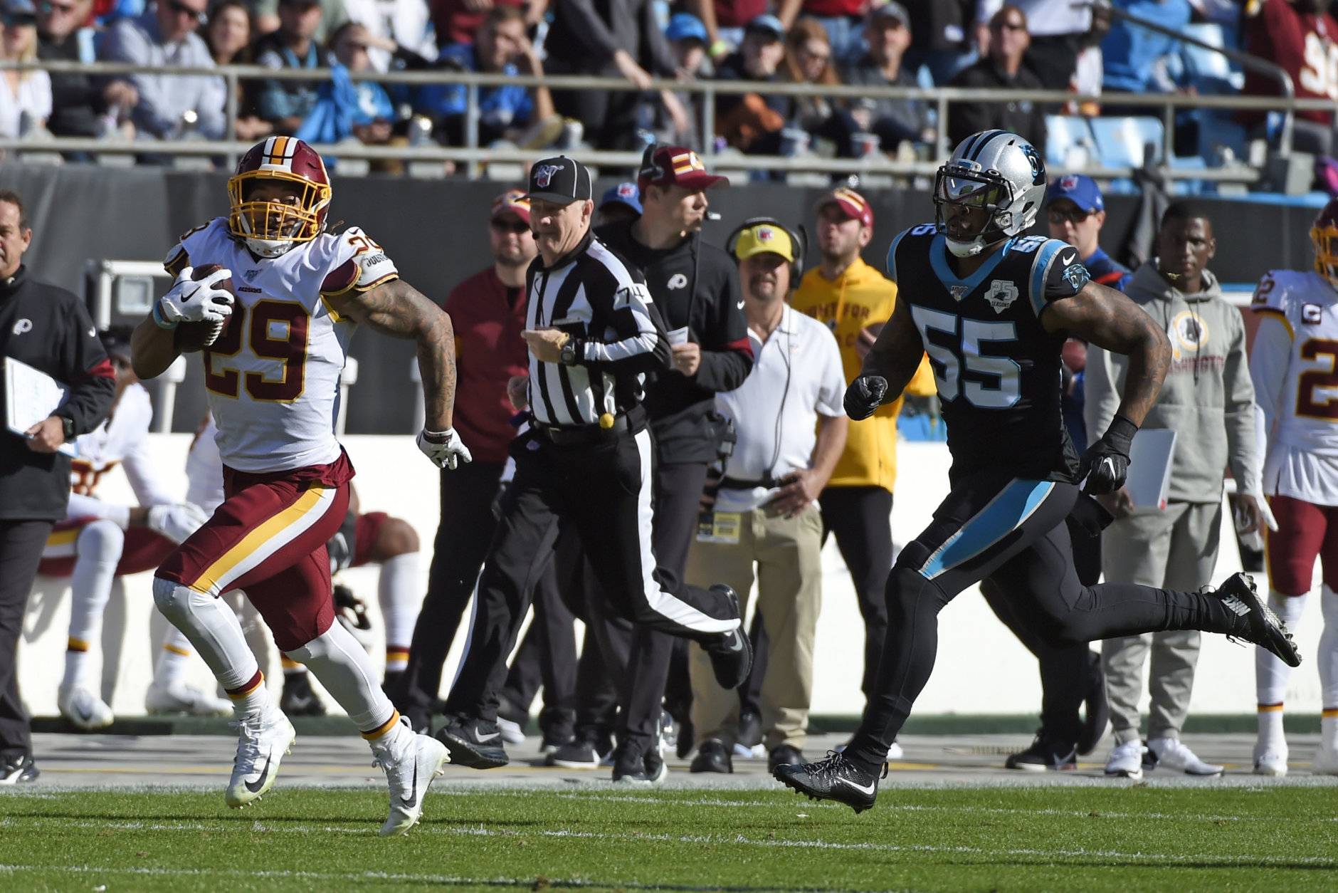 <p><b><i>Redskins 29</i></b><br /> <b><i>Panthers 21</i></b></p> <p>The Redskins got the breakout game from Derrius Guice they&#8217;ve been waiting for. Fabian Moreau grabbed his third interception in the last two games and rookies Montez Sweat (1.5 sacks) and Kelvin Harmon (51 yards on three catches) had solid outings. If this organization ever got some worthwhile leadership, their future would actually be kinda bright.</p>