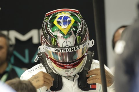 Hamilton unveils new Senna tribute helmet at Brazilian GP