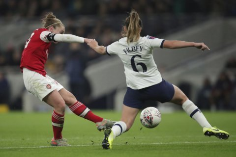 Arsenal beats Spurs in front of WSL record crowd of 38,262