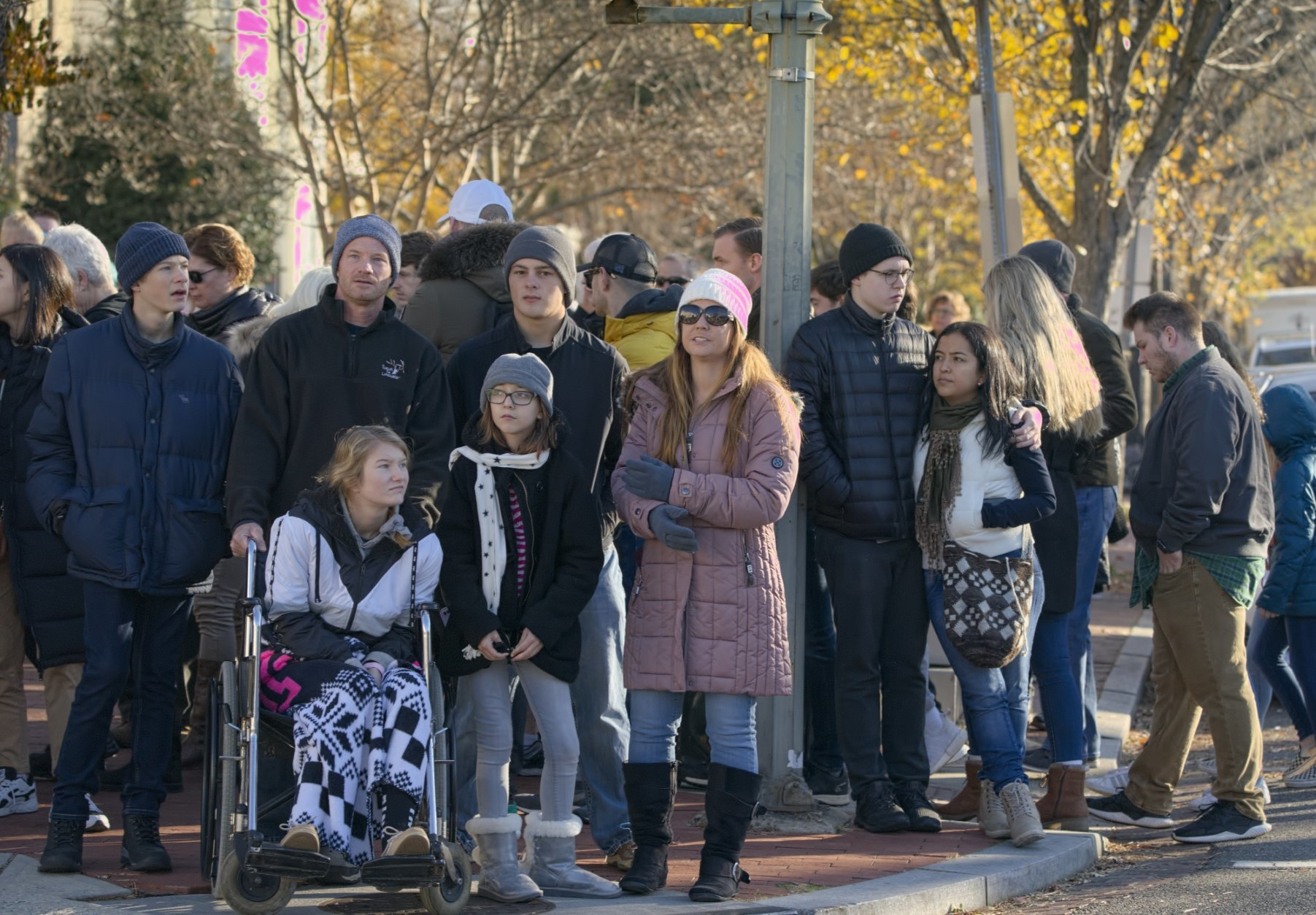 People are kept at a safe distance as the U.S. Capitol and its office buildings were briefly evacuated amid concerns about a small aircraft in the area, in Washington, Tuesday, Nov. 26, 2019. (AP Photo/J. Scott Applewhite)