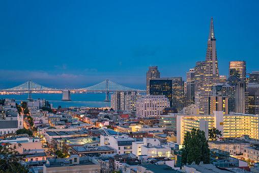 San Francisco at night, view from Telegraph Hill.