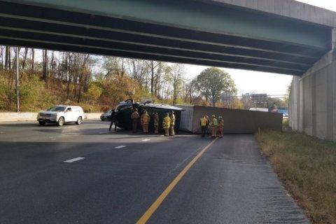 Backups ease on Outer Loop after tractor trailer overturned in Bethesda