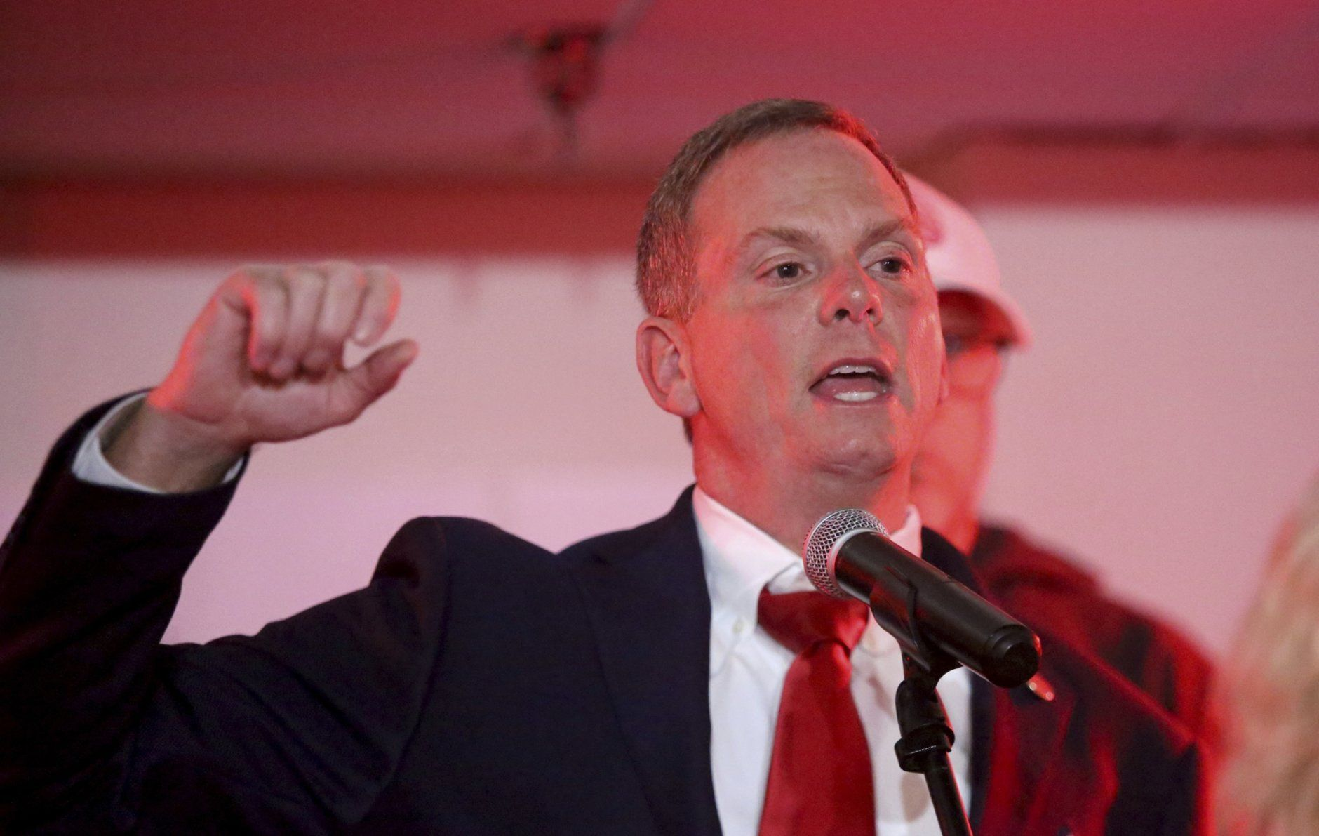 Bill DeSteph claims victory in retaining his seat in the 8th Senate District at the Republican victory party in Virginia Beach, Va., on Tuesday, Nov. 5, 2019. (Steve Earley/The Virginian-Pilot via AP)