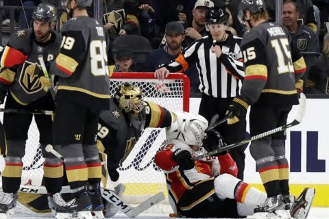 Karlsson scores 2, Fleury and Vegas blanks Calgary, 6-0