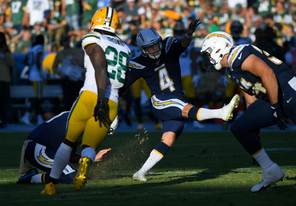 """<p><b><i>Packers 11</i></b><br /> <b><i>Chargers 26</i></b></p> <p>Give it up for Michael Badgley, y&#8217;all. He called his shot with his <a href=""""https://profootballtalk.nbcsports.com/2019/11/03/michael-badgley-trademarks-money-badger-nickname/"""">self-imposed (and well-timed) nickname</a> to help the Chargers snap a 3-game home losing streak and stuff some <a href=""""https://twitter.com/LilySZhao/status/1191155126708428800"""">humble pie</a> in Green Bay&#8217;s face. If L.A. can pull off back-to-back division wins in prime time, the AFC West will get really interesting.</p>"""