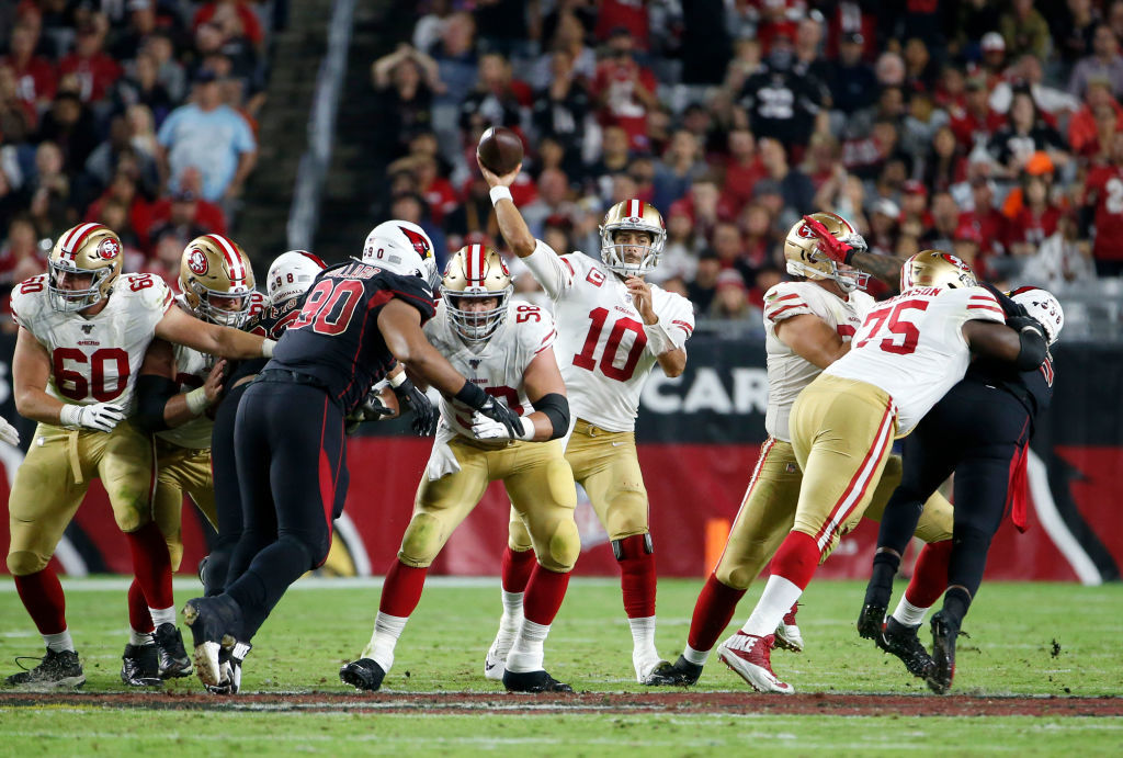 """<p><b><i>49ers 28</i></b><br /> <b><i>Cardinals 25</i></b></p> <p>San Fran&#8217;s defense showed some cracks and the vaunted run game found few holes, but it happened on a night when Jimmy G had the best game of his career (though not so much <a href=""""https://twitter.com/QueenChyXII/status/1190278953833041920?s=20"""">after the game</a>) to keep the 49ers undefeated halfway through their season. But now <a href=""""https://wtop.com/gallery/nfl/2019-nfl-week-8-recap/"""">the schedule gets tougher</a> and <a href=""""https://www.espn.com/nfl/story/_/id/27983186/source-49ers-lb-kwon-alexander-season-torn-pectoral"""">Kwon Alexander is out for the season</a> so it&#8217;s about to get real in the Bay Area.</p>"""