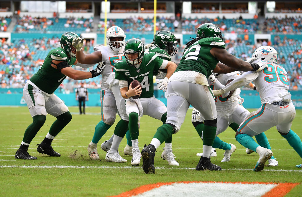 """<p><b><i>Jets 18</i></b><br /> <b><i>Dolphins 26</i></b></p> <p>The Jets spent the week <a href=""""https://www.espn.com/nfl/story/_/id/27976942/was-angry"""">pissing off their best offensive player</a>, <a href=""""https://profootballtalk.nbcsports.com/2019/10/30/jamal-adams-patriots-dont-take-calls-on-tom-brady-so-jets-shouldnt-on-me/"""">alienating their best defensive player</a> and nearly got <a href=""""https://profootballtalk.nbcsports.com/2019/10/30/if-patriots-win-jets-dolphins-loser-is-mathematically-eliminated-in-afc-east/"""">mathematically eliminated from division contention</a> at the season&#8217;s midway point by losing to a winless team actively trying not to win. It&#8217;s as if they watched the dysfunctional Redskins and said, &#8220;hold my beer.&#8221; FedEx Field might actually collapse from the ineptitude when these teams &#8220;play&#8221; in two weeks.</p>"""
