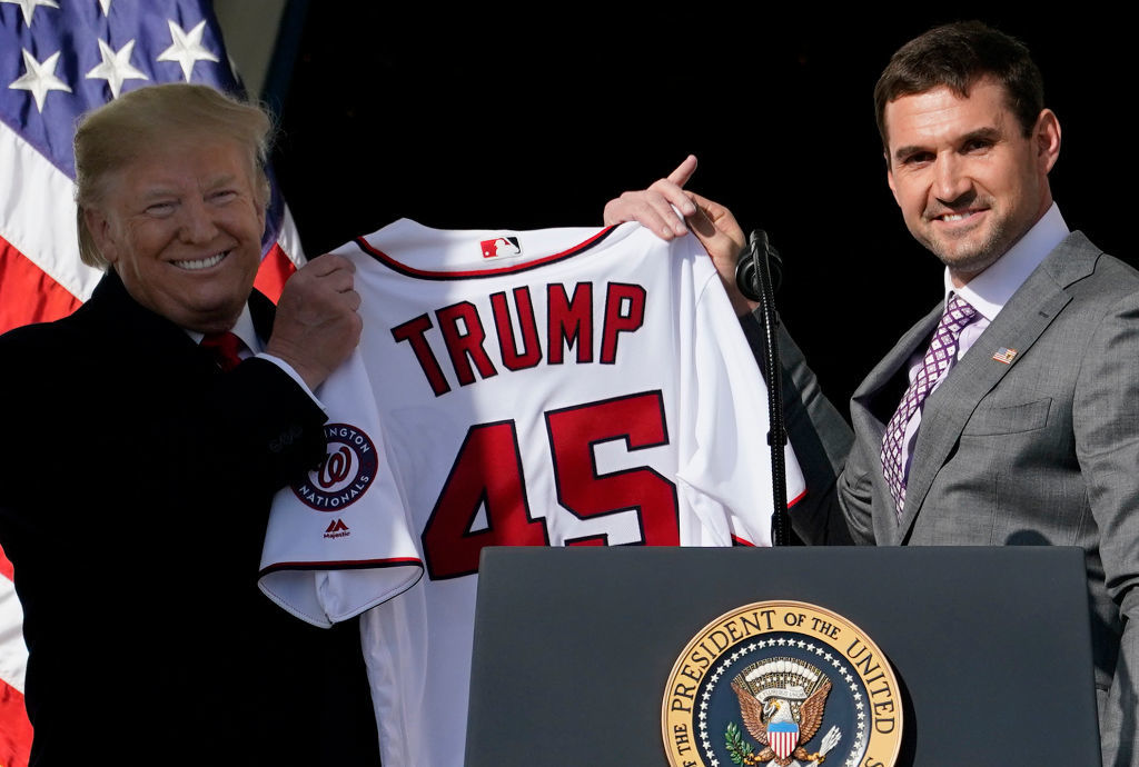 WASHINGTON, DC - NOVEMBER 04:  First baseman Ryan Zimmerman presents a Nationals jersey to U.S. President Donald Trump as Trump welcomes the 2019 World Series Champions, the Washington Nationals, to the White House November 4, 2019 in Washington, DC. The Nationals are Washington's first Major League Baseball team to win the World Series since 1924.  (Photo by Win McNamee/Getty Images)