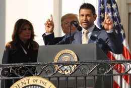 WASHINGTON, DC - NOVEMBER 04: 2019 World Series Champions the Washington Nationals General Manager Dave Martinez delivers remarks at the invitation of U.S. President Donald Trump during a celebration at the White House November 04, 2019 in Washington, DC. The Nationals are Washington's first Major League Baseball team to win the World Series since 1924. (Photo by Chip Somodevilla/Getty Images)