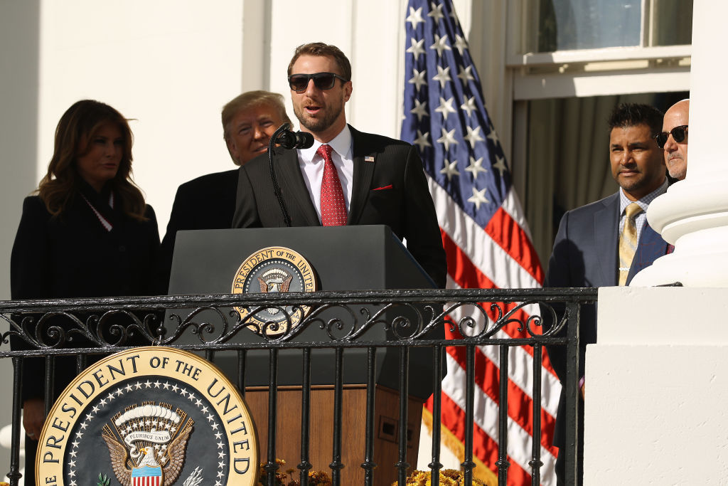 WASHINGTON, DC - NOVEMBER 04: At the invitation of U.S. President Donald Trump (2nd L), Washington Nationals starting pitcher Max Scherzer makes brief remarks during a celebration for the 2019 World Series Champions at the White House November 04, 2019 in Washington, DC. The Nationals are Washington's first Major League Baseball team to win the World Series since 1924. (Photo by Chip Somodevilla/Getty Images)