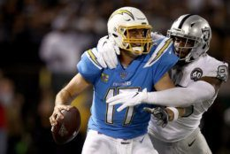 """<p><b><i>Chargers 24</i></b><br /> <b><i>Raiders 26</i></b></p> <p>In the last prime time game at the Oakland Coliseum, Clelin Ferrell had <a href=""""https://twitter.com/ESPNStatsInfo/status/1192659624366874625?s=20"""" target=""""_blank"""" rel=""""noopener"""">one of the best performances</a>by a rookie Raiders pass rusher and Josh Jacobs punched in the game-winning touchdown. I&#8217;m not ready to say the Silver and Black is back, but their first-round picks from last year&#8217;s fire sale are certainly making it look like <a href=""""https://profootballtalk.nbcsports.com/2019/11/08/jon-gruden-is-making-a-case-for-coach-of-the-year/"""" target=""""_blank"""" rel=""""noopener"""">Jon Gruden knows what he&#8217;s doing after all</a>.</p> <p>And it looks like the beginning of the end for Philip Rivers in powder blue. His performance was uglier than his hideous 57.5 QB rating would imply, and at 38 years old; it&#8217;s probably not his last stinker.</p>"""
