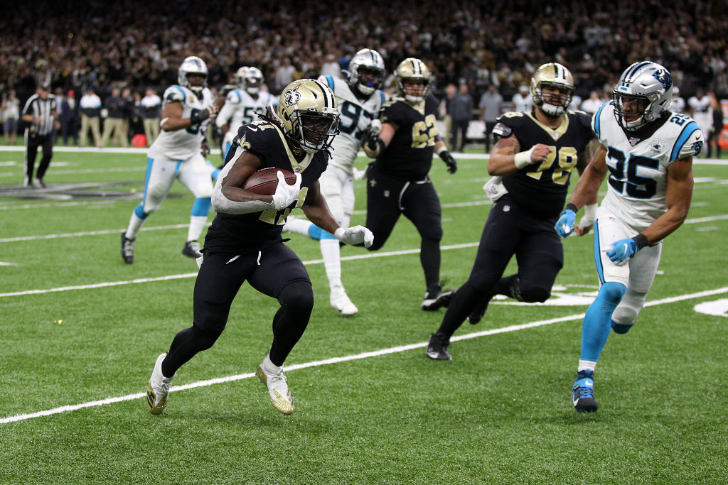 "<p><b><i>Panthers 31</i></b><br /> <b><i>Saints 34</i></b></p> <p>Another day, another bad beat for New Orleans on <a href=""https://profootballtalk.nbcsports.com/2019/11/24/al-riveron-on-new-orleans-dpi-call-replay-showed-clear-and-obvious-evidence/"" target=""_blank"" rel=""noopener"">a pass interference call</a>. This time, Joey Slye choked, Drew Brees led his 50th fourth-quarter comeback and the Saints now have a chance to go marching into a division title with a win over Atlanta on Thanksgiving Day.</p>"