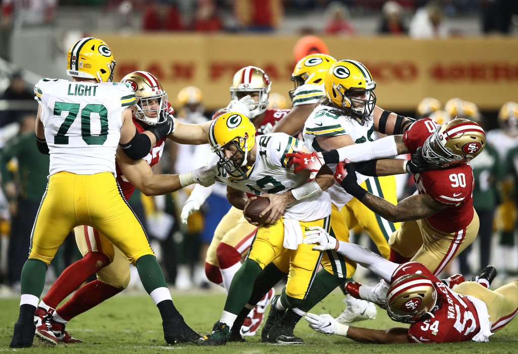 "<p><b><i>Packers 8</i></b><br /> <b><i>49ers 37</i></b></p> <p>San Francisco kicked off <a href=""https://profootballtalk.nbcsports.com/2019/11/20/49ers-could-be-starting-a-historically-difficult-stretch/"" target=""_blank"" rel=""noopener"">a historically difficult stretch</a> in style, with a primetime pummeling of the Packers (try and say that three times fast), sacking future Hall-of-Famer Aaron Rodgers five times and holding him to <a href=""https://twitter.com/ESPNStatsInfo/status/1198821020423077889?s=20"" target=""_blank"" rel=""noopener"">a historically inept</a> 104 passing yards on 33 attempts (an awful 3.2 yards per pass). This top-ranked 49ers pass defense is for real and the main reason why this is a legit Super Bowl contender.</p> <p>So, Green Bay better hope their path to the Super Bowl somehow stays east of the Mississippi River because <a href=""https://profootballtalk.nbcsports.com/2019/11/18/packers-change-west-coast-travel-plans-for-this-week/"" target=""_blank"" rel=""noopener"">no matter what they do</a>, they&#8217;re 0-for-West Coast.</p>"