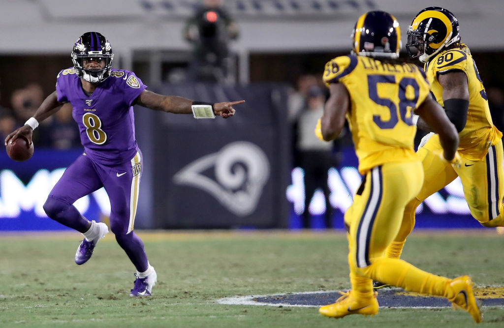 "<p><em><strong>Ravens 45</strong></em><br /> <em><strong>Rams 6</strong></em></p> <p>Remember a few months ago when Baltimore was calling its offense &#8220;revolutionary&#8221; and we were wondering what the hell that means? This is what that means: <a href=""https://www.espn.com/chalk/story/_/id/28108572/ravens-qb-lamar-jackson-favored-las-vegas-win-mvp"">Lamar Jackson is the MVP favorite</a> and the Ravens are <a href=""https://profootballtalk.nbcsports.com/2019/11/21/ravens-running-game-atop-the-nfl-across-the-board/"">by far the greatest running team we&#8217;ve ever seen</a>. And Monday night, <a href=""https://www.espn.com/nfl/story/_/id/28126139/safety-eric-weddle-says-share-ravens-intel-rams "">Eric Weddle stood idly by</a> and watched it happen to the slowly sinking Rams.</p>"