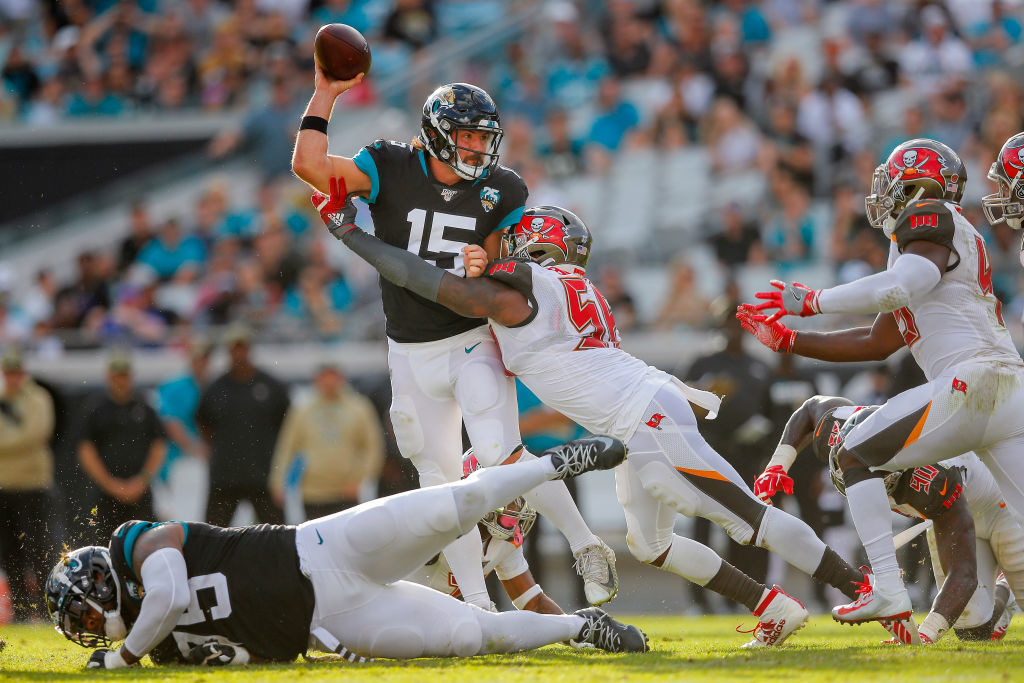 """<p><b><i>Bucs 28</i></b><br /> <b><i>Jaguars 11</i></b></p> <p>On a day when <a href=""""https://profootballtalk.nbcsports.com/2019/11/25/jameis-winston-reaches-100-career-turnovers/"""">The Human Turnover</a> actually refrained from throwing an interception, Jacksonville decided Minshew Magic trumps the Nick Foles brand of magic that apparently only works in Philadelphia. I&#8217;ll bet the quarterback change won&#8217;t be the only one made by the Jags in the coming weeks.</p>"""