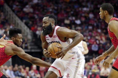 Harden scores 60 in 31 minutes, Rockets rout Hawks 158-111