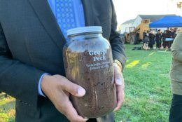 The dirt was collected into jars, some of which will sit in the Legacy Museum of the Equal Justice Initiative.