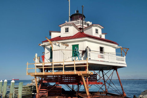 The Thomas Point Shoal lighthouse.