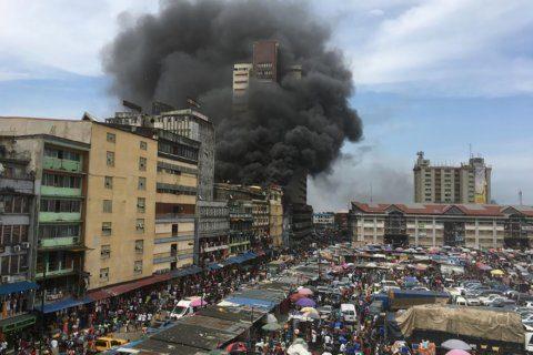 Nigerian firefighters battle huge blazes at market in Lagos