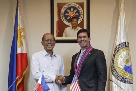 Esper urges 'very public posture' on Chinese sea claims