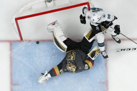 Sharks topple Golden Knights 2-1 in overtime