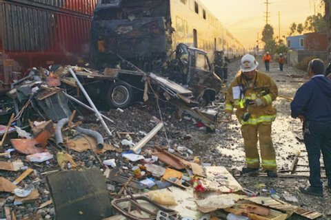 Commuter train hits RV in fiery collision near Los Angeles