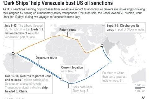 Oil tankers 'go dark' off Venezuela to evade US sanctions